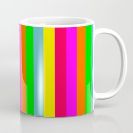 Neon Hawaiian Rainbow Cabana Stripes Coffee Mug