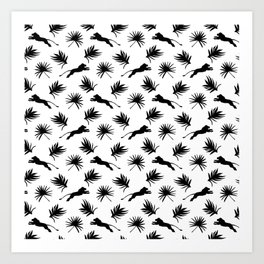 Wild jumping African lions, exotic tropical plants whimsical ethnic tribal retro vintage black and white nature pattern. Gift ideas for wildlife, lion and animal lovers. Art Print