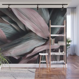 Pink Plant Leaves Wall Mural
