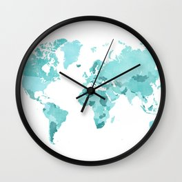 Distressed world map in aquamarine and teal Wall Clock