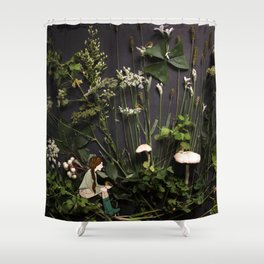 Bridie and the Robins in the Forest of Shamrocks Shower Curtain