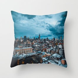 Moody skies over Manhattan Throw Pillow