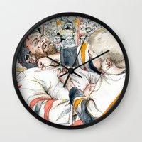hockey Wall Clocks featuring Hockey fight by Chris Gauvain