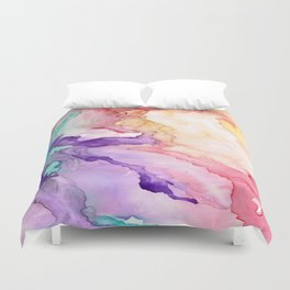 Color My World Watercolor Abstract Painting Duvet Cover