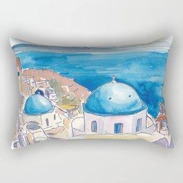 Santorini Oia View Mediterranean Dream Rectangular Pillow