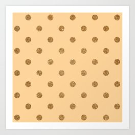 Burly Wood1 Gold Glitter Dot Pattern Art Print