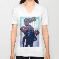 xmen V-neck T-shirts featuring Xmen vs The Thing by ashurcollective