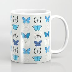 Lepitoptery No. 2 - Blue and White Butterflies and Moths Mug