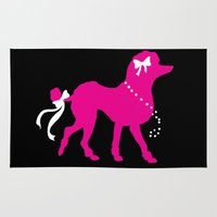 poodle Area & Throw Rugs featuring Pink Poodle  by Devon Busby Busbyart