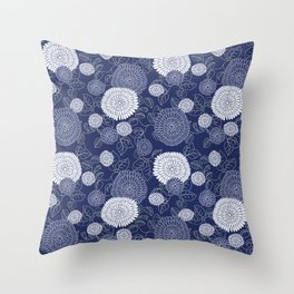 Indigo Chrysanthemums Throw Pillow