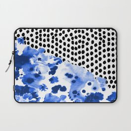 Monroe - India ink, indigo, dots, spots, print pattern, surface design Laptop Sleeve