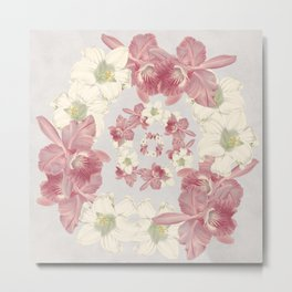 Pink and white floral Metal Print