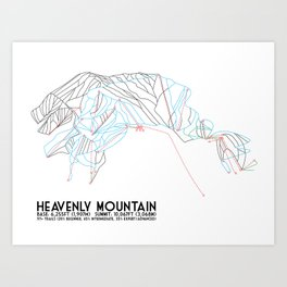 Heavenly, CA/NV - Minimalist Trail Map Art Print