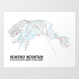 Heavenly, CA/NV - Minimalist Trail Map Art Print