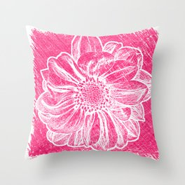 White Flower On Pink Crayon Throw Pillow