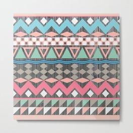 Vintage Wood Aztec, Andes Teal & Pink Abstract Pattern Metal Print