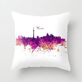 Toronto Watercolor Skyline Throw Pillow