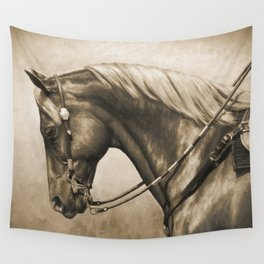 Western Quarter Horse Old Photo Effect Wall Tapestry