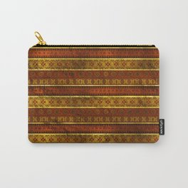 African Ethnic Tribal Pattern in golds and brown Carry-All Pouch