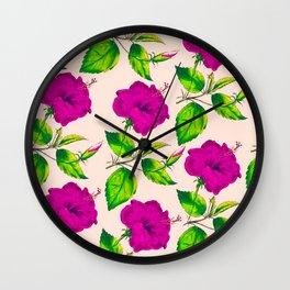 Modern neon pink lime green botanical flowers Wall Clock