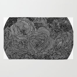 Circle Floral Line Drawing Rug