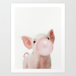 Bubble Gum Baby Pig Art Print
