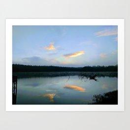 Blue Lake at Sunrise Art Print