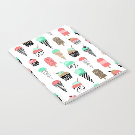 Ice Cream - Summer fresh modern minimal print pattern design gifts for college  Notebook