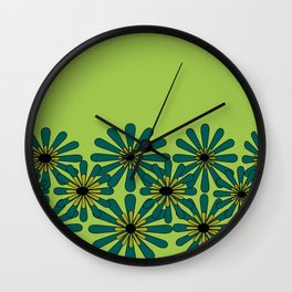 Green Flower Pattern Wall Clock