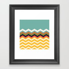 Retro Chevrons (blue and yellow) Framed Art Print