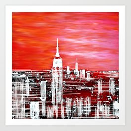 Abstract Red In The City Design Art Print