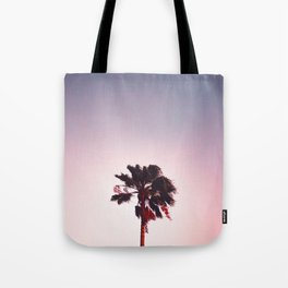 Pink And Purple Background Sunset Minimalist Palm Tree Silhouette Modern Photo California Tote Bag