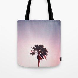 Pink And Purple Background Sunset Minimalist Palm Tree Silhouette Modern Photo California Tote Bag