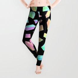 Rainbow Crystal Pattern on Black Leggings