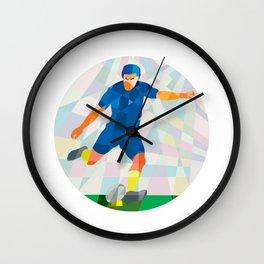 Rugby Player Kicking Ball Circle Low Polygon Wall Clock