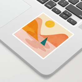 Abstraction_Lake_Sunset Sticker
