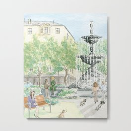 People In The City/ Dogs  Are On The Street/ A Fountain Square In The City/ Woman With A Dog Metal Print