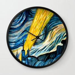 batmans logo stary night Wall Clock