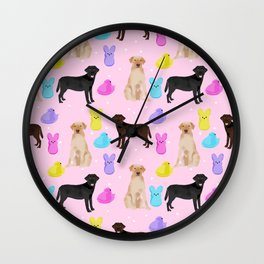 Labrador retriever dog breed peeps marshmallow treat easter spring dog gifts Wall Clock