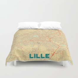 Lille Map Retro Duvet Cover