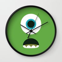 mike wrobel Wall Clocks featuring Mike Wazowski by Adrian Mentus