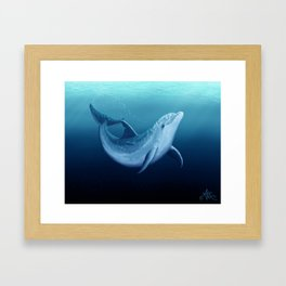 """Riversoul Blue"" by Amber Marine ~ Dolphin Art, (Copyright 2014) Framed Art Print"