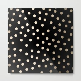 Simply Dots White Gold Sands on Midnight Black Metal Print