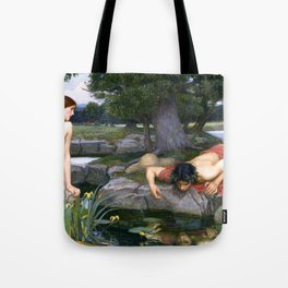 Echo and Narcissus by John William Waterhouse Tote Bag