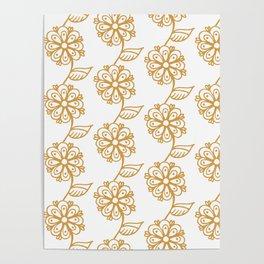 Golden floral on white 2/5 Poster