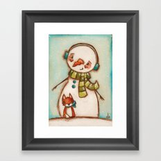 Fox and Friend - Snowman and Fox in the snow Framed Art Print