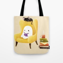 Ghost reading Tote Bag