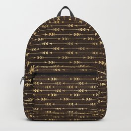 Chic Brown and Gold Tribal Arrows Backpack