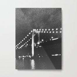 Manhattan Bridge At Night Metal Print