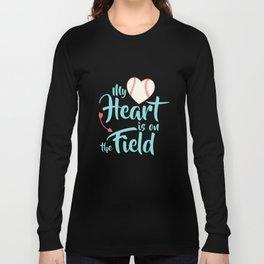 My Heart Is On That Field Shirt Mom Football Baseball Aqua Long Sleeve T-shirt